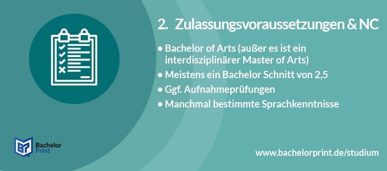 Master of Arts Zulassungsvoraussetzungen NC